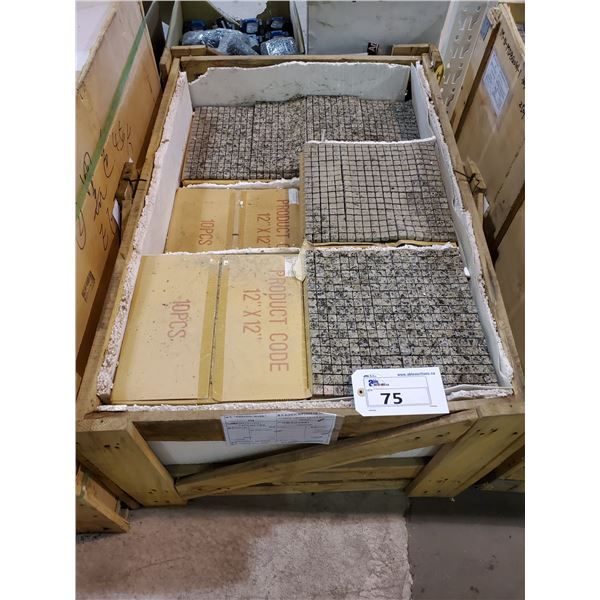 "PALLET OF 174 PCS OF 5/8"" AMBER GREEN 12X12"" SHEETS SLATE TILE"