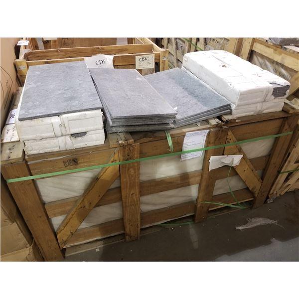 "PALLET OF 130 PCS OF 24X12"" VOLGA BLUE TILE"