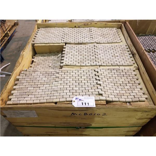 "PALLET OF 190 PCS OF 1X2"" - 12X12"" CREAM COLOURED MOSAIC SLATE TILE"