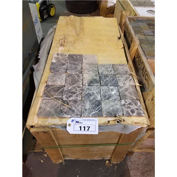 """PALLET OF APPROX 450 PCS OF 4X4"""" GREY STONE TILE"""
