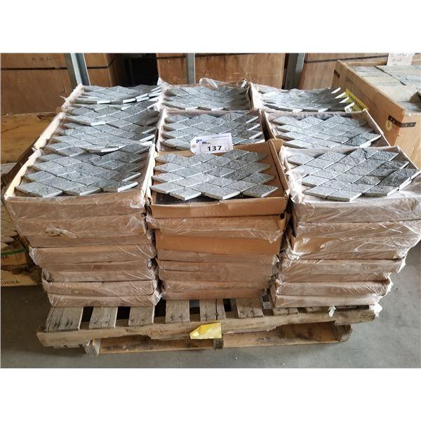"PALLET OF 200 PCS OF 24X12"" PLATINUM RHOMBOID SLATE MOSAIC TILE"