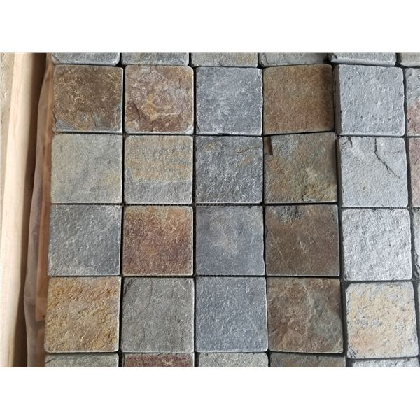 """PALLET OF 450 PCS OF 2X2"""" MULTI GREY MOSAIC TILE ON 12X12"""" SHEETS"""