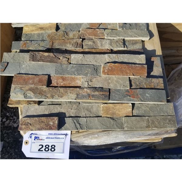 """PALLET OF APPROX 80 PCS OF 6X20"""" BROWN & GREY WALL STONE"""