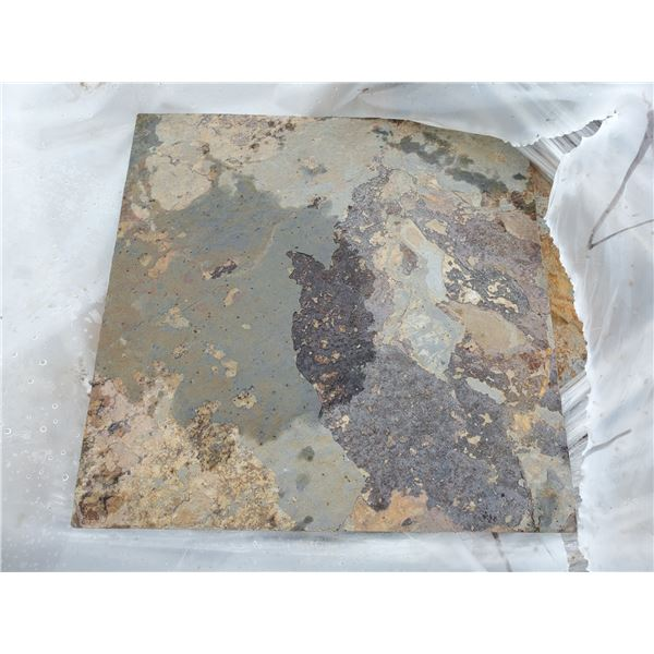 """PALLET OF APPROX 480 PCS OF 12X12"""" BROWN & GREY SLATE TILE"""
