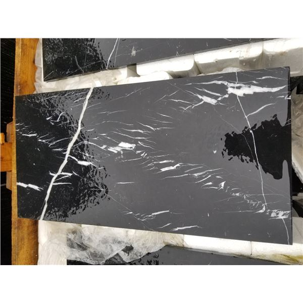 """PALLET OF APPROX 200 PCS OF 12X24"""" BLACK & WHITE MARBLE TILE"""