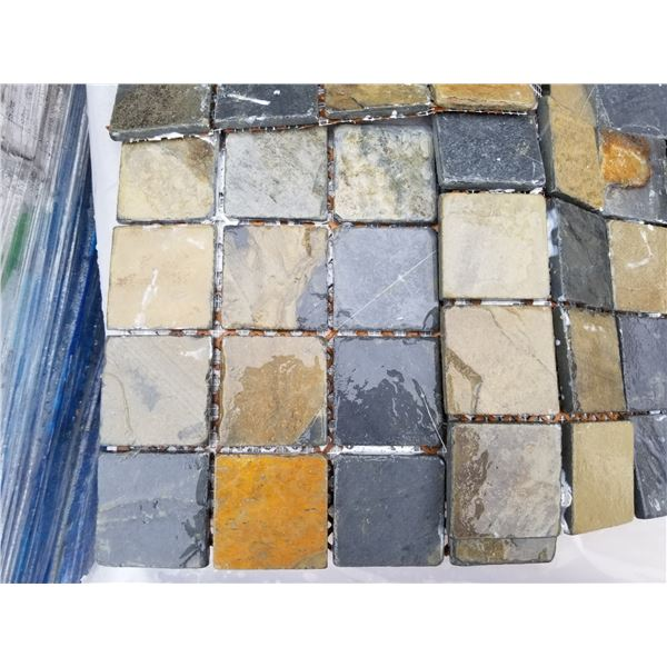"""PALLET OF APPROX 250 PCS OF 3X3"""" MULTI BROWN MOSAIC TILE ON 12X12"""" SHEETS"""