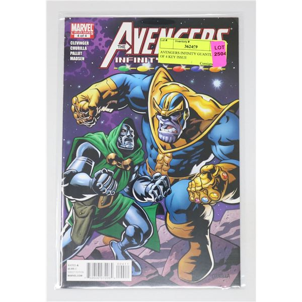 AVENGERS INFINITY GUANTLET #4 OF 4 KEY ISSUE