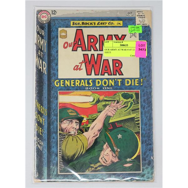 OUR ARMY AT WAR #147 12 CENT ISSUE