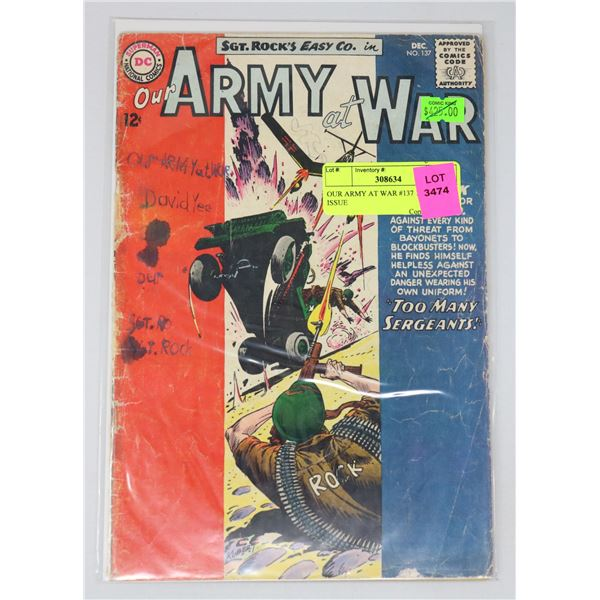 OUR ARMY AT WAR #137 12 CENT ISSUE