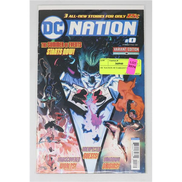 DC NATION #0 VARIANT ISSUE