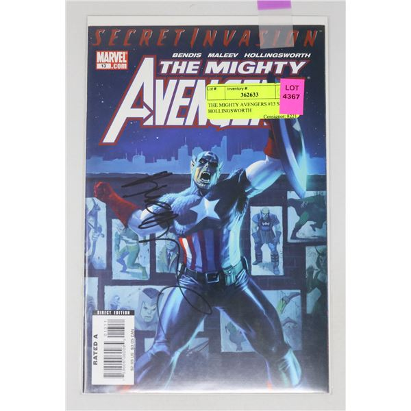 THE MIGHTY AVENGERS #13 SIGNED HOLLINGSWORTH
