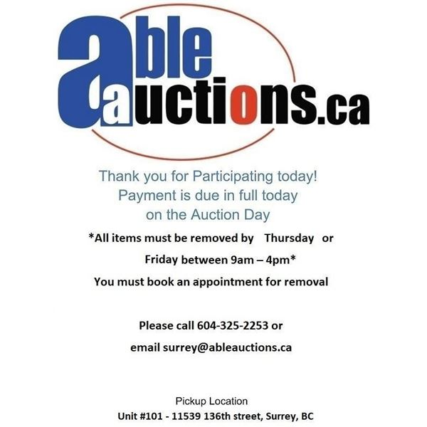 ALL ITEMS MUST BE REMOVED BY THURSDAY UNTIL 6:00PM & FRIDAY 9AM - 4:30PM BY APPOINTMENT