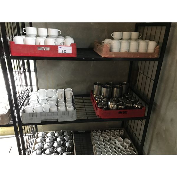 LOT OF CUPS, SMALL TEA POTS AND MORE