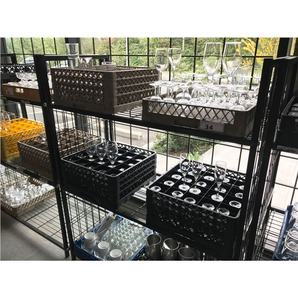 LOT OF GLASSWARE AND CONDIMENT SERVERS