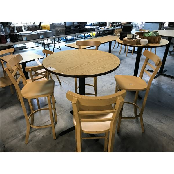 """NATURAL OAK 36"""" ROUND BAR HEIGHT TABLE WITH 4 MATCHING LIGHT WOOD GRAIN METAL BAR STOOLS"""