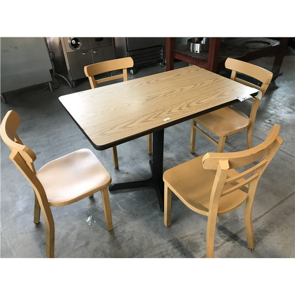 NATURAL OAK 3.5' X 2' BISTRO TABLE WITH 4 LIGHT WOOD GRAIN METAL BISTRO CHAIRS