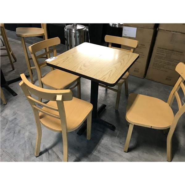 NATURAL OAK 2' X 2' BISTRO TABLE WITH 4 LIGHT WOOD GRAIN BISTRO METAL CHAIRS