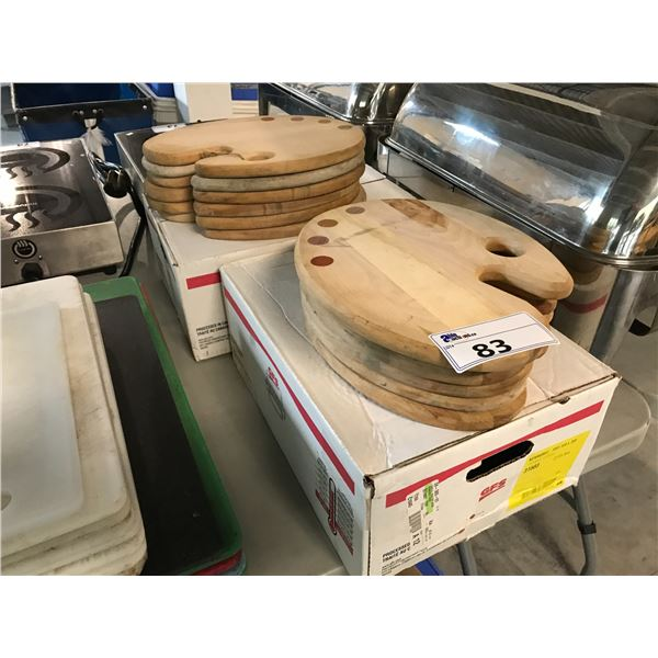 LOT OF WOODEN SERVING TRAYS, CUTTING BOARDS  AND CEDAR PLANKS