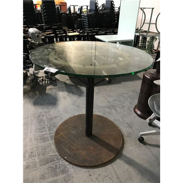 """SHIP WHEEL BAR HEIGHT CAPTAINS TABLE WITH GLASS TOP 44"""" DIAM. X 43"""" HIGH"""
