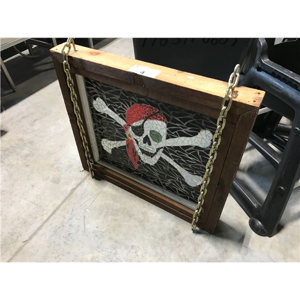 """JOLLY ROGER STAINED GLASS HANGING FRAME 31""""L X 27""""W"""