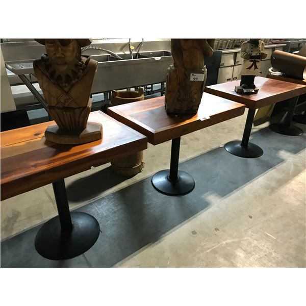 """3 WOODEN 40 X 24"""" WOODEN PLANK BISTRO TABLES"""