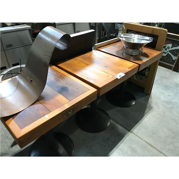 """3 WOODEN 24 X 24"""" WOODEN PLANK BISTRO TABLES"""