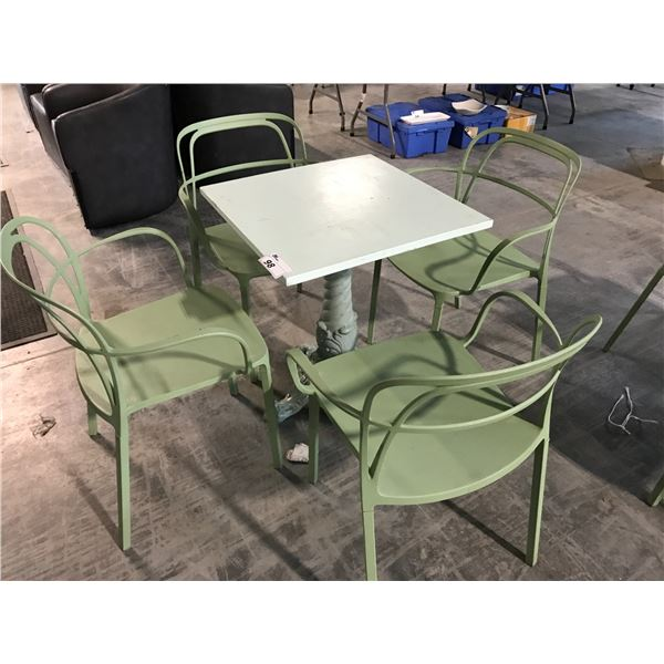 6 SEAFOAM GREEN TABLES, MISC. SIZE ON METAL BASE WITH 10 MATCHING METAL ARM CHAIRS