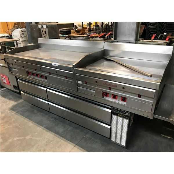 """STAINLESS STEEL MAGIKICH'N DUAL STATION GRILLER 8'W X 32""""D X 39""""H"""