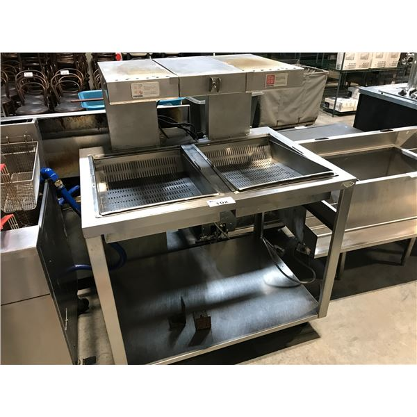 """STAINLESS STEEL DUAL BREAD/PREP TABLE 44"""" W X 32""""D X 56""""H"""