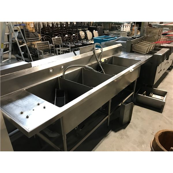 """STAINLESS STEEL 4 COMPARTMENT SINK/RINSE STATION 112""""W X 30""""D X 37""""H"""