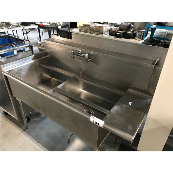 """QUEST STAINLESS STEEL SINK DUAL BASIN SINK 58""""W X 30""""D X 37""""H"""