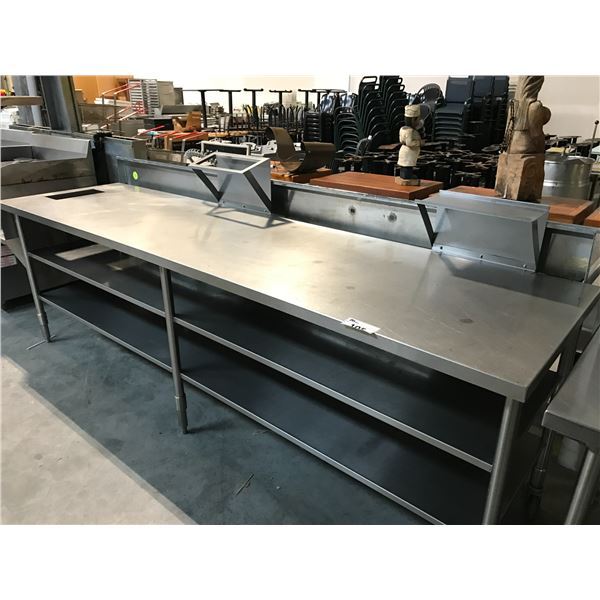 """STAINLESS STEEL PREP TABLE 127""""W X 30""""D X 37""""H"""