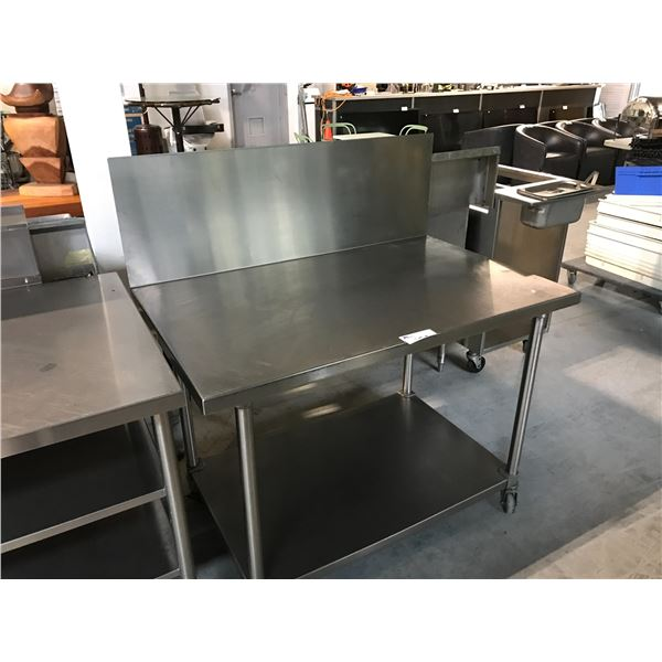 """STAINLESS STEEL MOBILE PREP TABLE WITH BACK SPLASH 48""""W X 30""""D X 34""""H"""