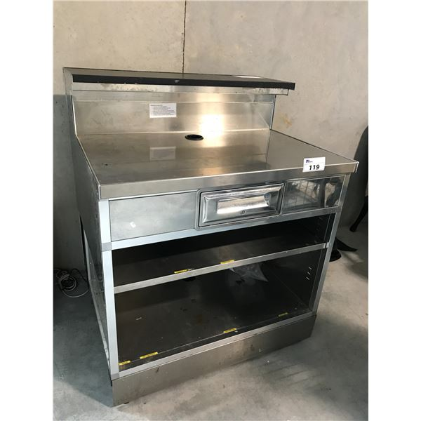 """STAINLESS STEEL 40""""D X 34""""W X 48""""H SERVICE BAR"""
