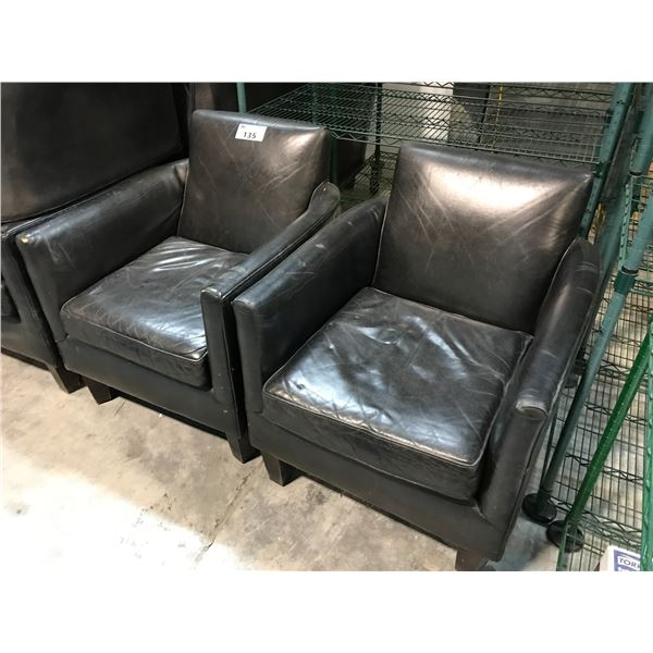 8 DARK GREY CLUB STYLE LOUNGE CHAIRS WITH CONDITION ISSUES
