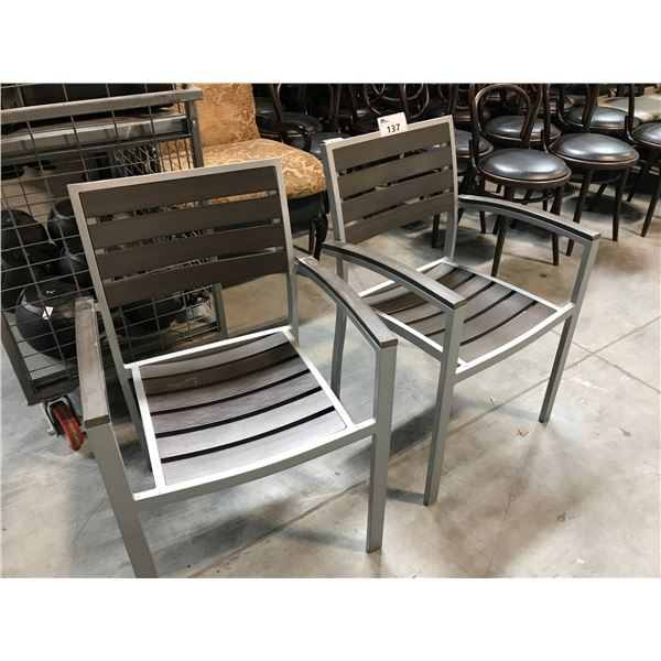 2 GREY AND BROWN ALUMINUM FRAMED PATIO CHAIRS