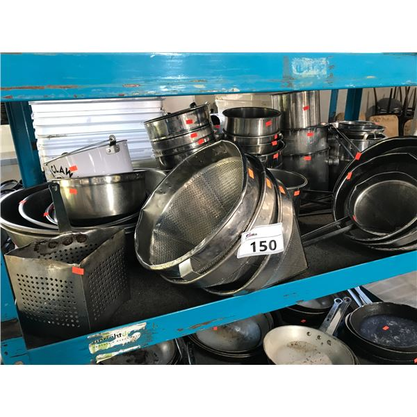 LOT OF STAINLESS STEEL, BOWLS, SIFTERS,  CONTAINERS AND MORE
