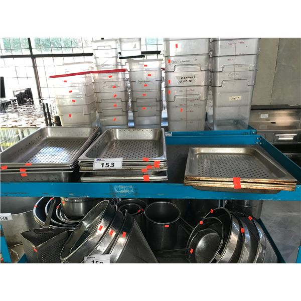 LOT OF STAINLESS STEEL PERFORATED WARMING PANS