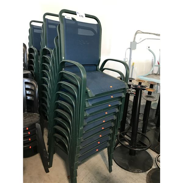 LOT OF 10 BLUE/GREEN PATIO ARM CHAIRS