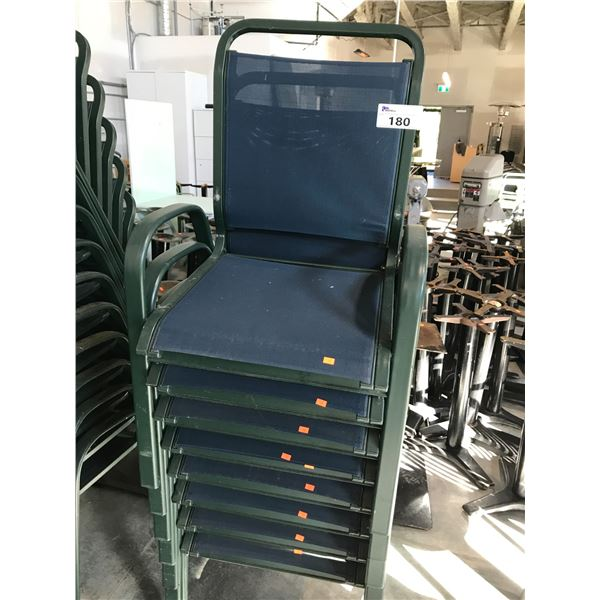 LOT OF 8 BLUE/GREEN PATIO ARM CHAIRS