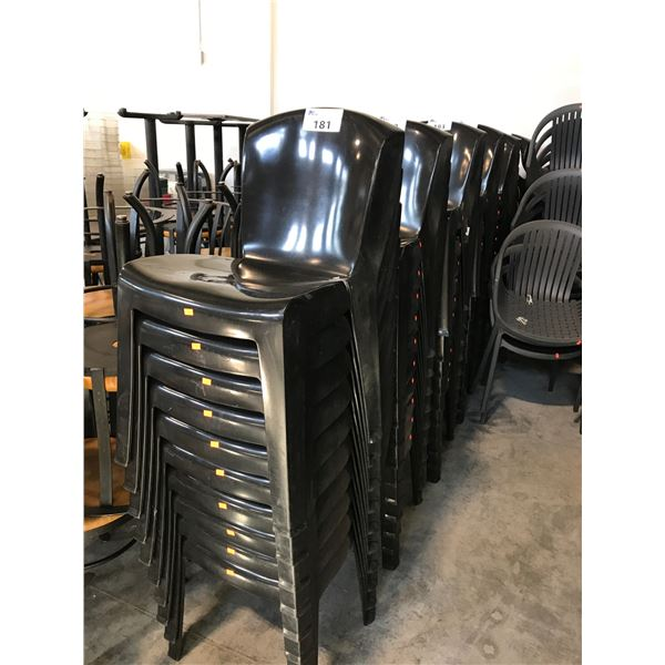 10 BROWN PLASTIC STACKING SIDE PATIO CHAIRS