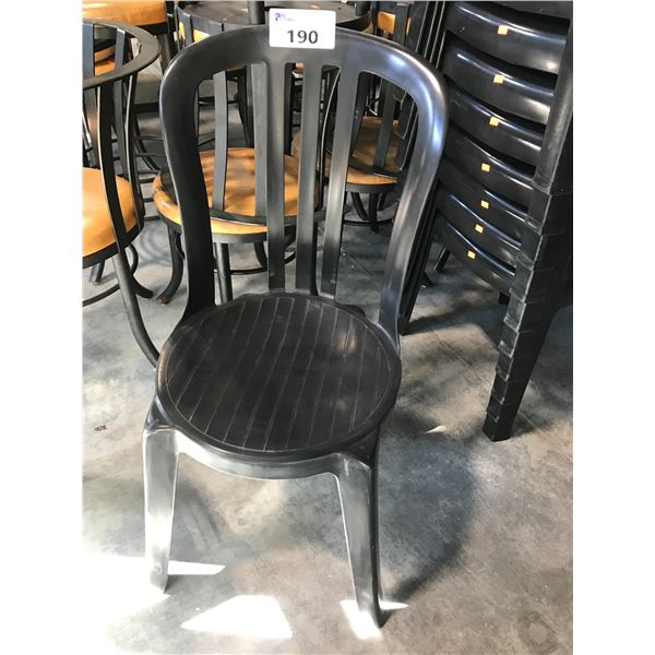 LOT OF 20 BLACK PLASTIC PATIO CHAIRS
