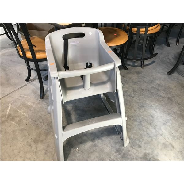 4 RUBBERMAID GREY PLASTIC HIGH CHAIRS