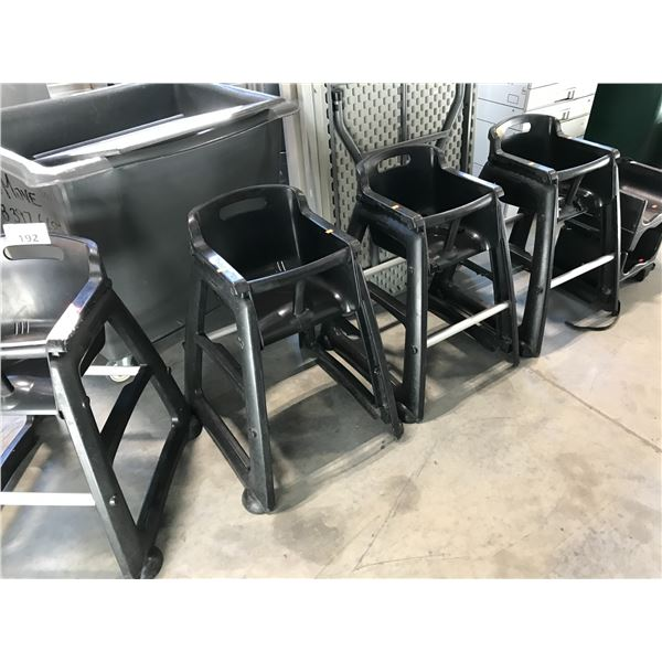 4 BLACK RUBBERMAID HIGH CHAIRS WITH 2 BOOSTER SEATS