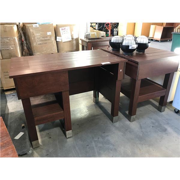 """MAHOGANY 50""""W X 29""""D COUNTER HEIGHT DESK  AND MATCHING TABLE"""
