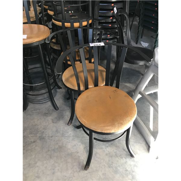 LOT OF 20 BLACK FRAMED/TAN BISTRO CHAIRS