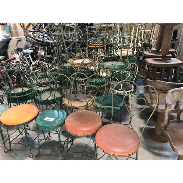 LARGE LOT OF APPROX. 50 ASSORTED METAL FRAMED BISTRO CHAIRS - MUST TAKE ALL