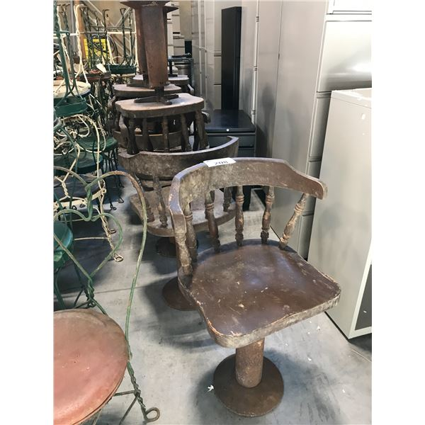 LOT OF 8 WOODEN SWIVEL SPINDLE BACK CHAIRS WITH METAL BASE - MUST TAKE ALL
