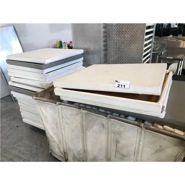 LARGE LOT OF MISC. VINYL COVERED TABLE TOPS - BIN NOT  INCLUDED