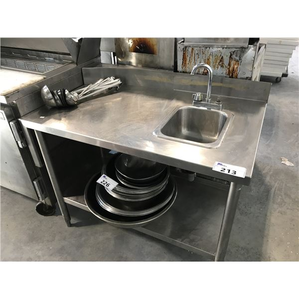 """STAINLESS STEEL 42""""W X 24""""D X 31""""H PREP TABLE/SINK"""